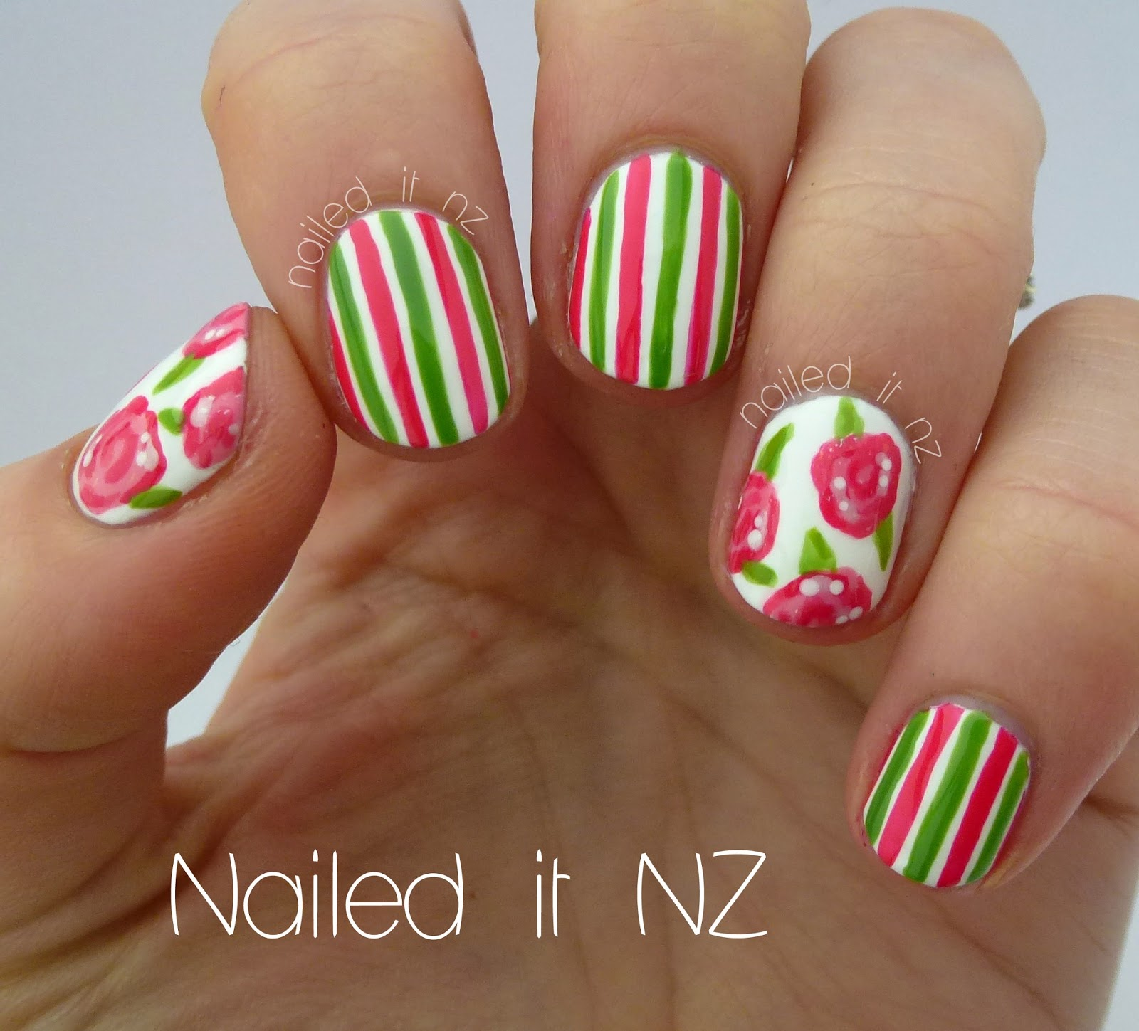 Roses and stripes nail art - on YouTube!