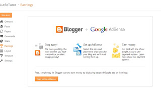 Earning Blogger Interface