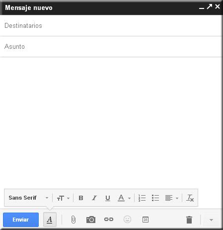 Nueva ventana para redactar un mensaje nuevo