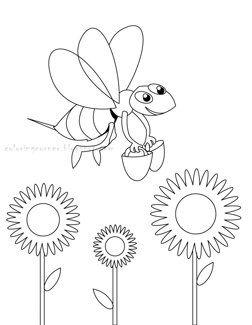 Honey Bee Coloring Page Printable high resolution
