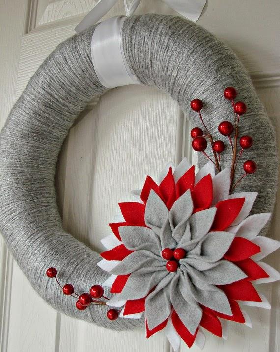Segunda natalina guirlandas de feltro decora o e for Coronas de navidad hechas a mano