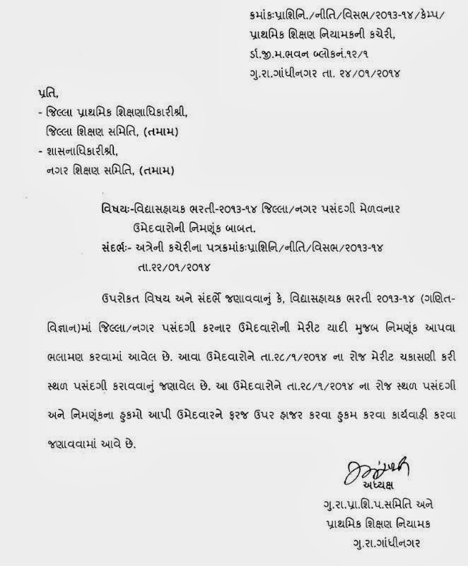 Vidyasahayak Bharati 2013/14 Sthal pasandgi Babat...