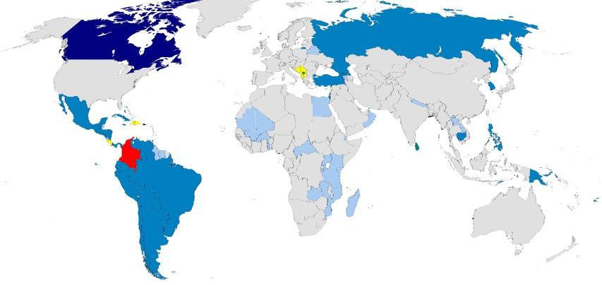 Países en los que los Colombianos viajan sin visa, libremente sin visado