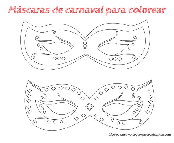 dibujos de máscaras de carnaval para colorear