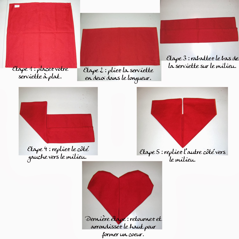 Pliage de serviette en forme de n nuphar memes - Serviette pliage coeur ...