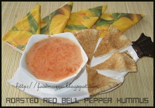 Food Mazaa: ROASTED RED BELL PEPPER HUMMUS