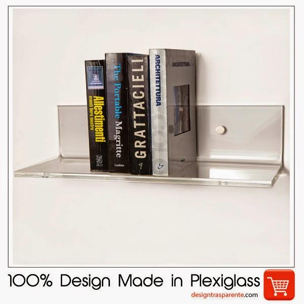 mensole di design in plexiglass trasparente