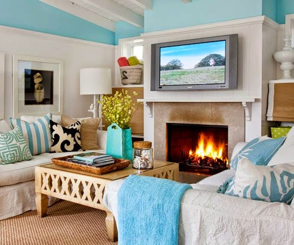 Bright Living Room Color Schemes White Design And Pale Blue Decorations