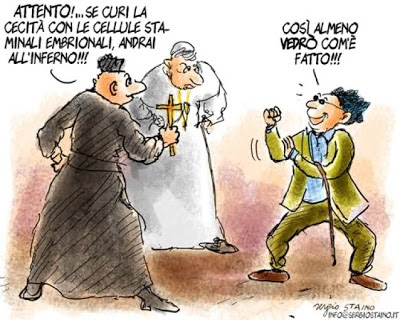 cellule staminali embrionali iPSC inferno cecità vignetta fumetto comics cartoon