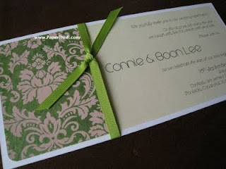 Green damask handmade wedding invitation