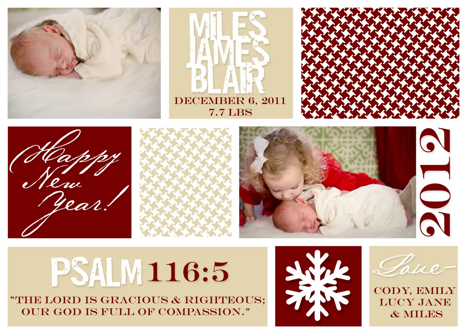 snowbird design Feature Monday – New Years Birth Announcements