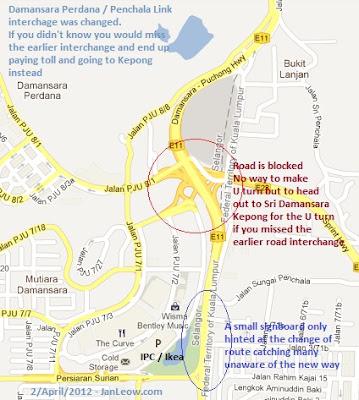 Damansara Perdana Penachala Link interchange was changed