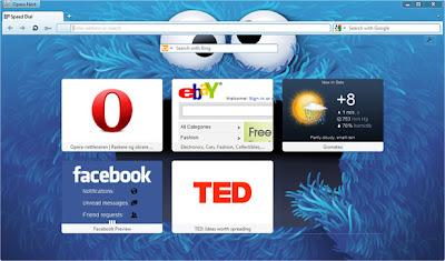 Opera 12 homepage