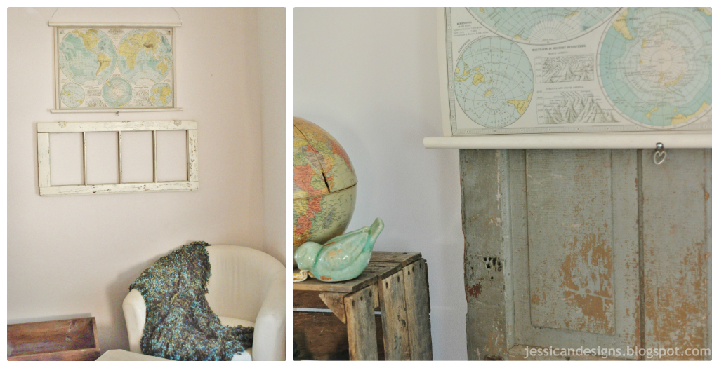 DIY Faux Vintage Pull Down Map By JessicaNDesigns  Julie Ann Art - Us vintage map with dowel