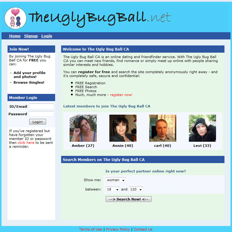ugly bug ball dating site Would you go to a online dating site for ugly people the site that got me started on this path is the ugly bug ball check it out and let us know what you think.