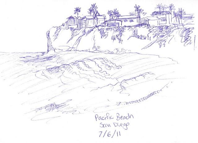 beach pen sketch