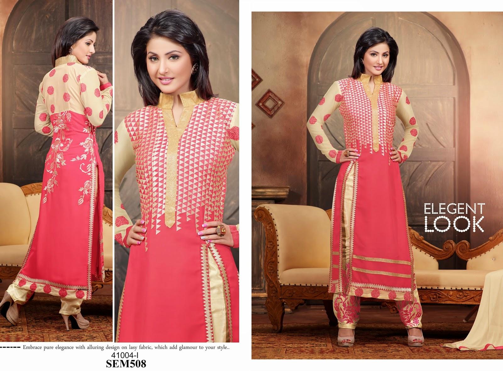 Hina khan in designer long salwar kameez helix enterprise