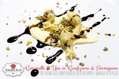 caramelle di uva in confezione di parmigiano, con salsina alla senape, granella di pistacchio e glassa di aceto balsamico.