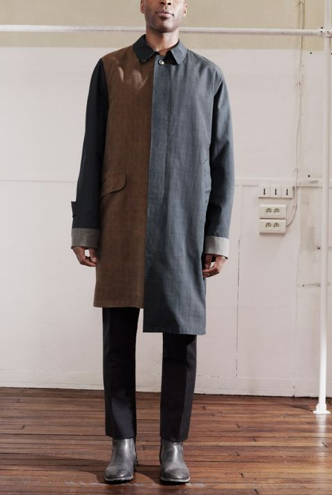 Maison Martin Margiela for HM, Tartan-checked mac, black suit trousers, grey painted boots, men's fashion, amazing looks, fashion, style, designer collaboration, interesting bag