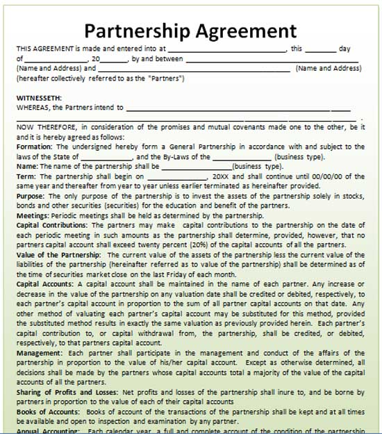 Preview of this Free Partnership Agreement Template,