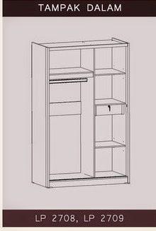 Tampak Dalam Lemari Pakaian Sliding Bougenville Series Graver Furniture