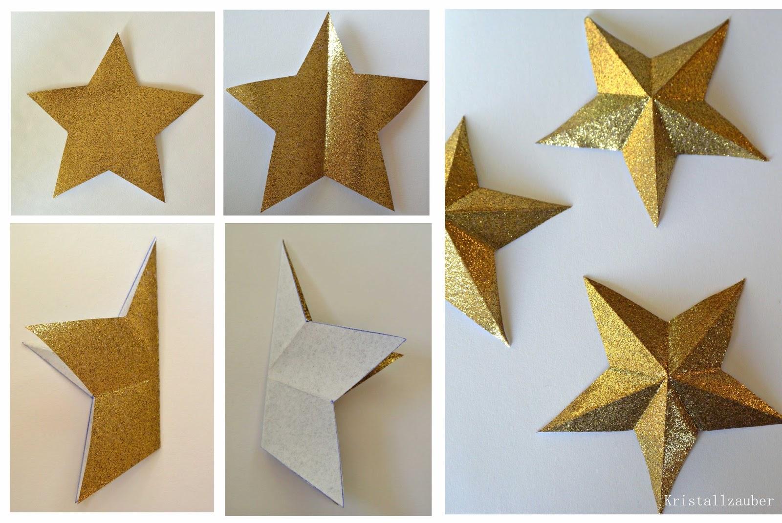 Kristallzauber: {DIY} Türkranz mit 3D Sternen aus goldenem Glimmerpapier
