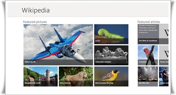 Tampilan aplikasi Wikipedia untuk Windows 8