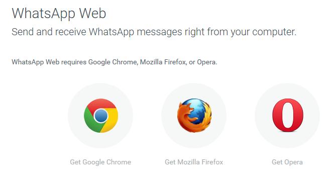 Ya se puede usar Whatsapp Web en Chrome, Firefox y Opera.