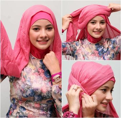 langkah 2 Cara memakai jilbab Pashmina Kreasi dengan aksen topi