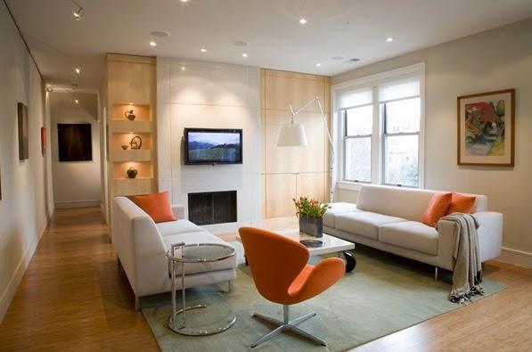 D Corations Salons En Orange Et Blanc D Coration Salon