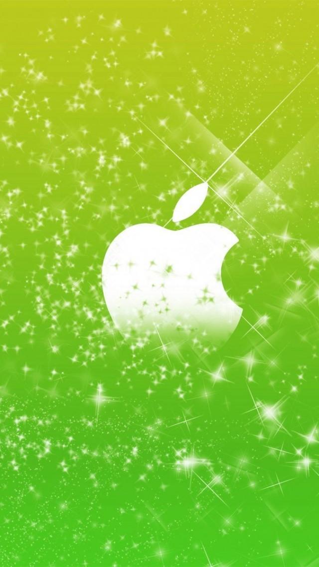 Apple Logo in Green Glitters Free HD Wallpaper  - apple logo in green glitters wallpapers