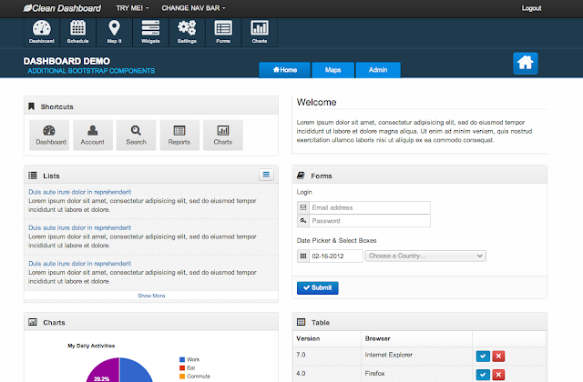 Clean dashboard admin template bootstrap