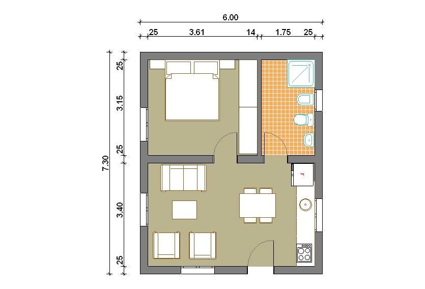 Progetti di case in legno casa 44 mq for Progetti contemporanei di case a pianta aperta