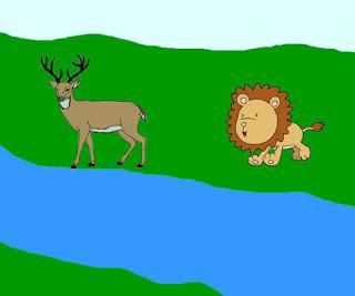 Fábula de Esopo el ciervo, el manantial y el león