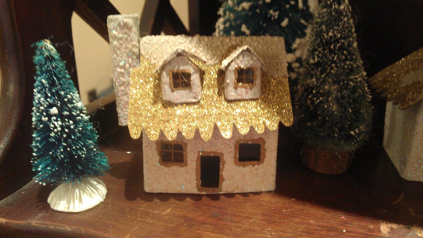 how to make cardboard glitter houses