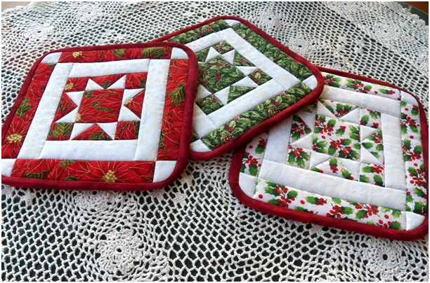 Art Threads: Wednesday Sewing - More North Star Quilted Potholders