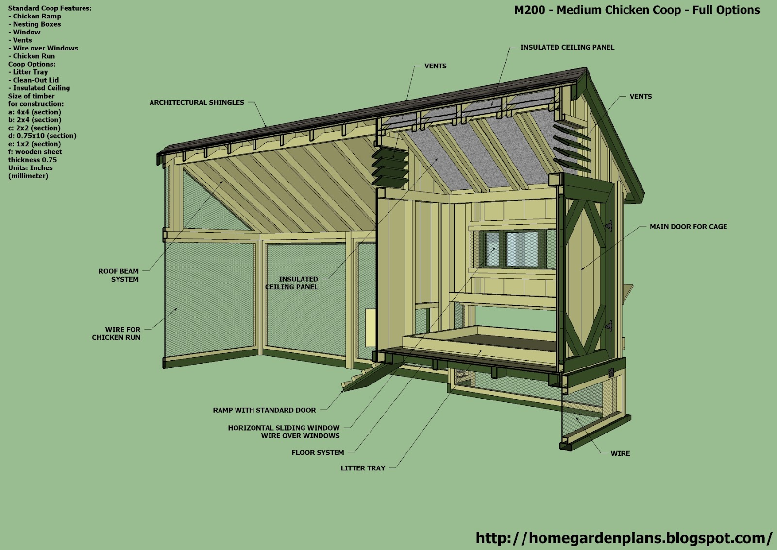 Home garden plans m200 chicken coop plans construction for Plans for a chicken coop for 12 chickens