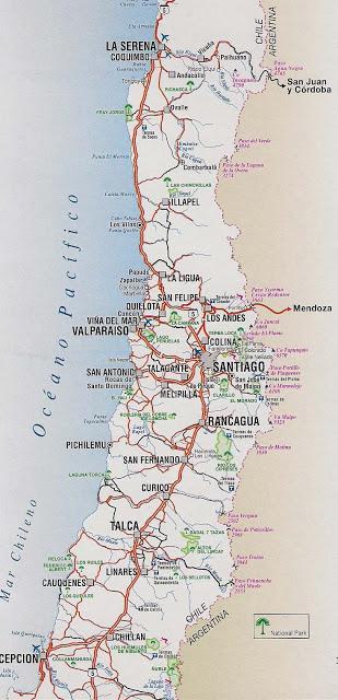 mapa caminero de chile centro