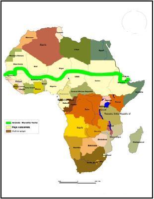 El proyecto de la gran muralla verde de África. Esta macrorreforestación se inspiró en el cinturón verde, un proyecto de la ganadora del premio Nobel de la Paz de 2004 Wangari Maathai. Esta keniana fundó en 1977 un movimiento que cambiaría su país natal para siempre, e inspiraría uno de los proyectos de restauración en tierras secas más grandes de todo el mundo. Imagen obtenida de: http://debreves.blogspot.com.es