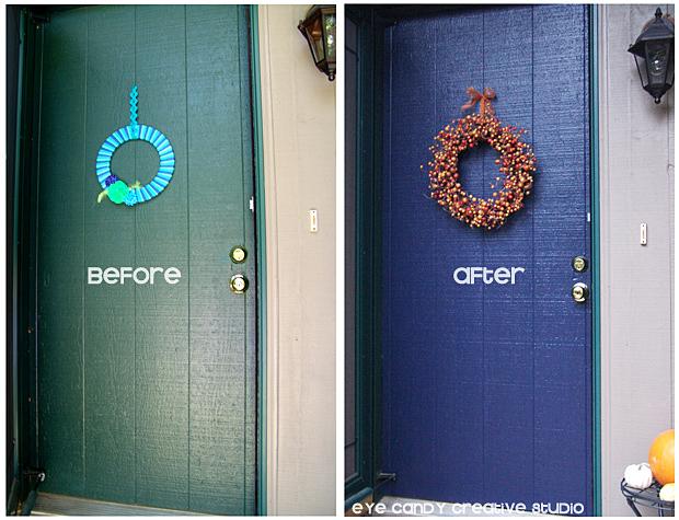 before and after shot of front door makeover, modern masters, front door paint