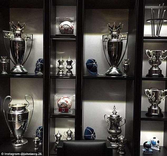 Two League Cup Trophies Are Also Seen Along With A Replica Of The FA Which He Has Won Five Times John Terry Total 14 Major For