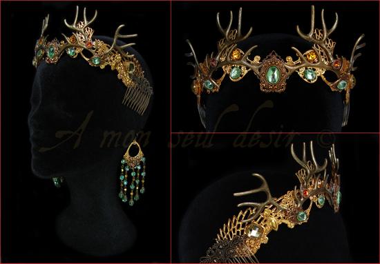Couronne Bois de Cerf bronze dryade nymphe tiare diadème déesse forêt