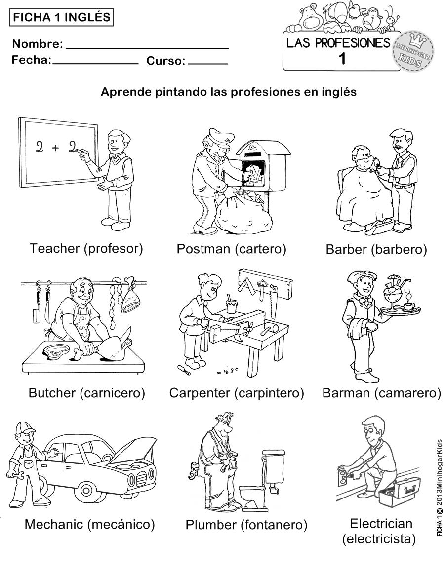 MinihogarKids: FICHA 1,2,3,4 y 5 PARA APRENDER LAS PROFESIONES Y ...