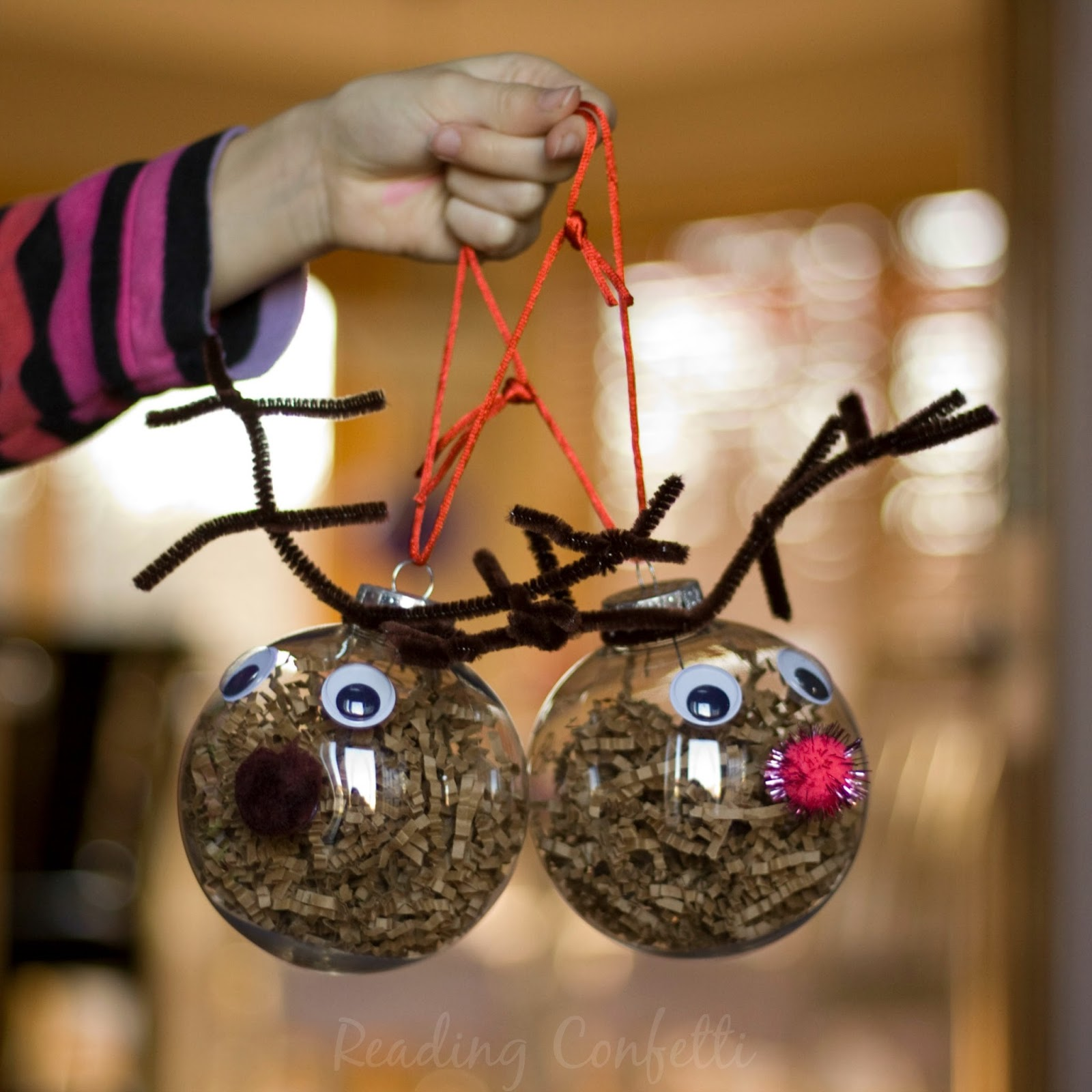 Clear christmas bulbs for crafting - Easy To Make Reindeer Ornaments