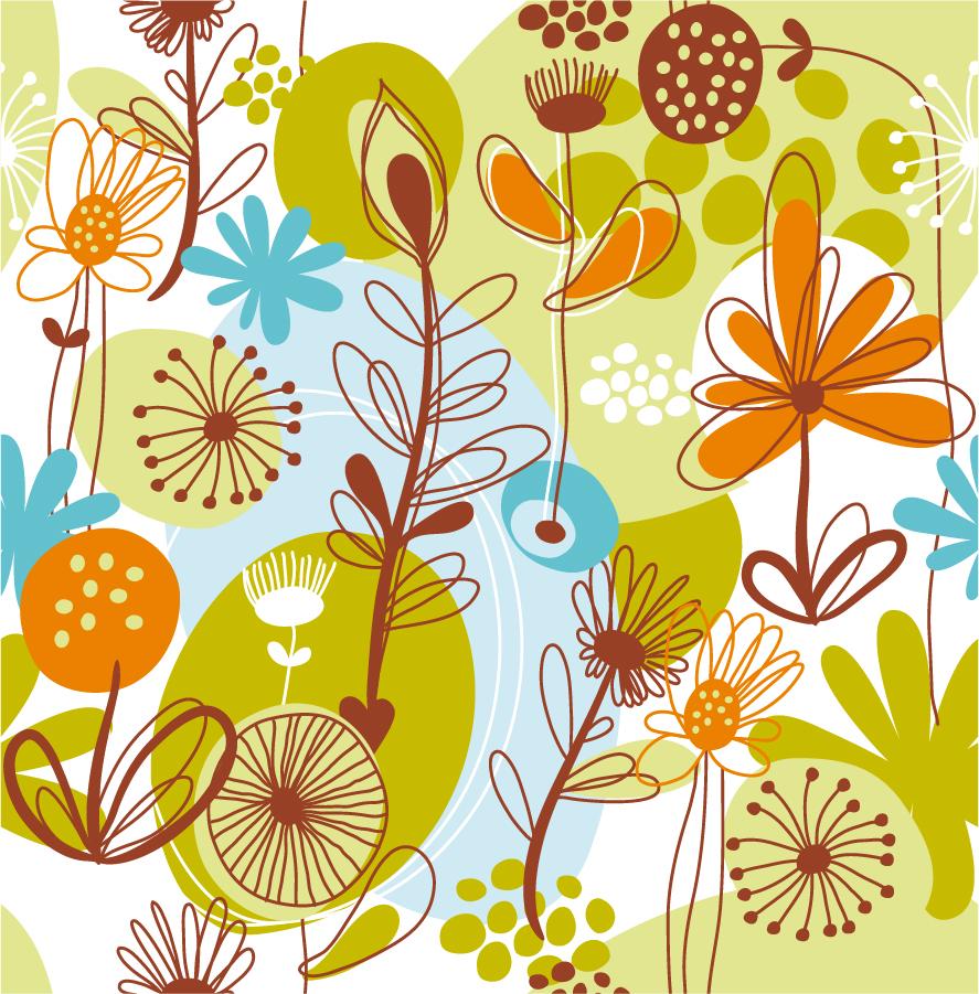 手書きの野生植物の背景 Floral Seamless Pattern Background イラスト素材