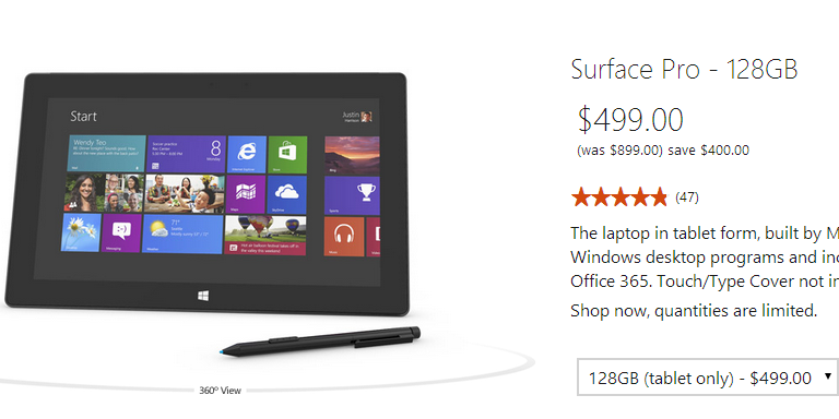 Microsoft Suface Pro 10.6-inch Tablet in Windows Web Store