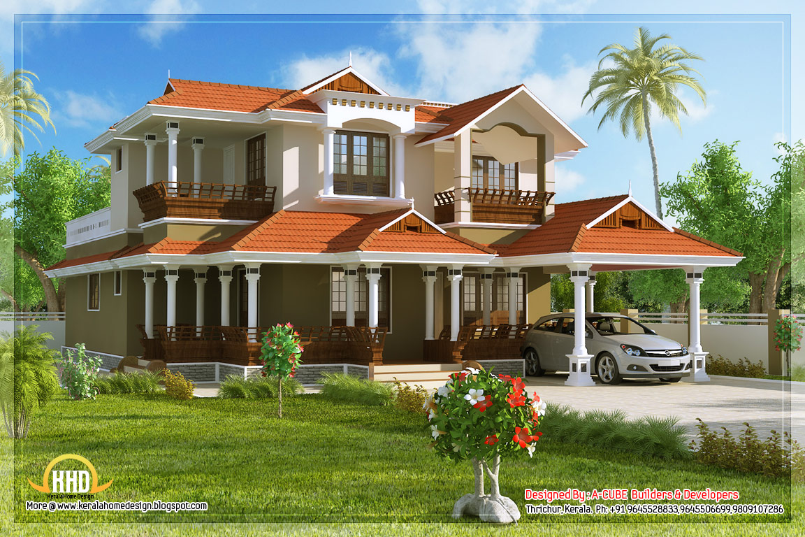 Beautiful 4 bedroom house in kerala style 2584 sq ft for Beautiful 4 bedroom house designs