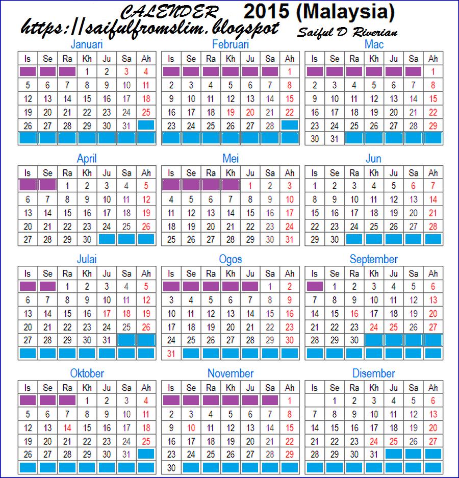 TAKWIM 2015- Kalender, Cuti Umum, Cuti Persekolahan, Jadual Gaji ...
