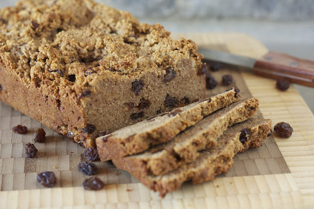 Paleo Raisin Bread, some raisins and a knife