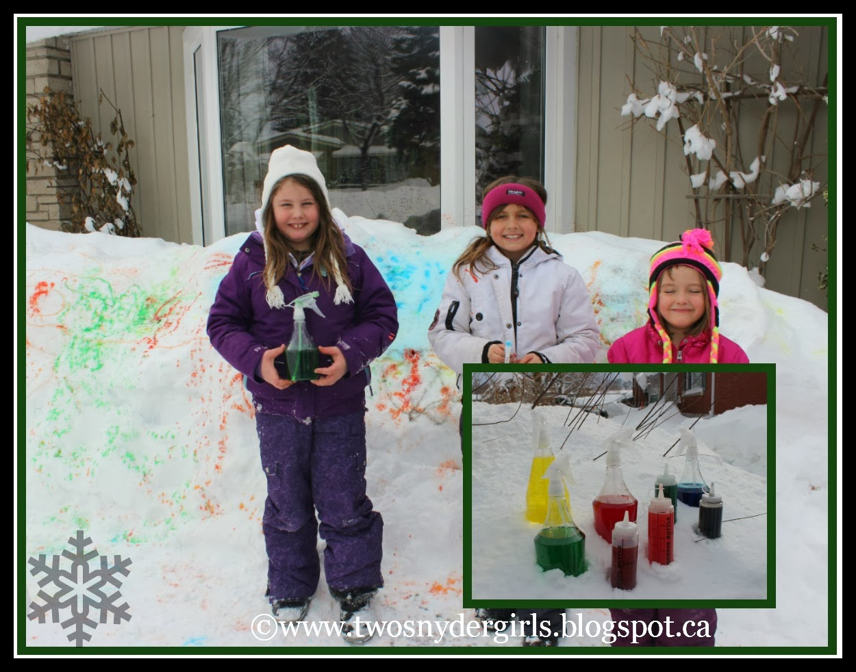 Snow painting winter activity children